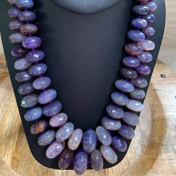 Purple Crackle Dyed Quartz Double Strand Necklace